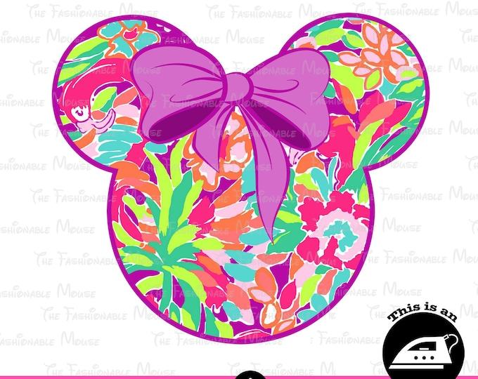 Disney Flower Iron On, Floral Mickey Head Print, Disney Floral Iron On,
