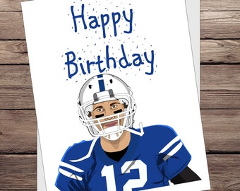 Andrew Luck Happy Birthday card. Indianapolis Colts greeting card. NFL  Football gift idea (luck) d41883d28cb