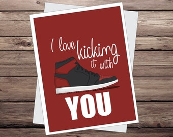 Funny Anniversary Cards For Girlfriend Boyfriend Kicking With You Jordan Card Basketball GiftGreeting