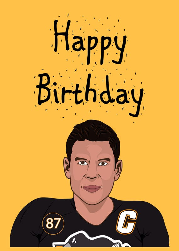 Sidney Crosby Happy Birthday Greeting Cards Pittsburgh Etsy