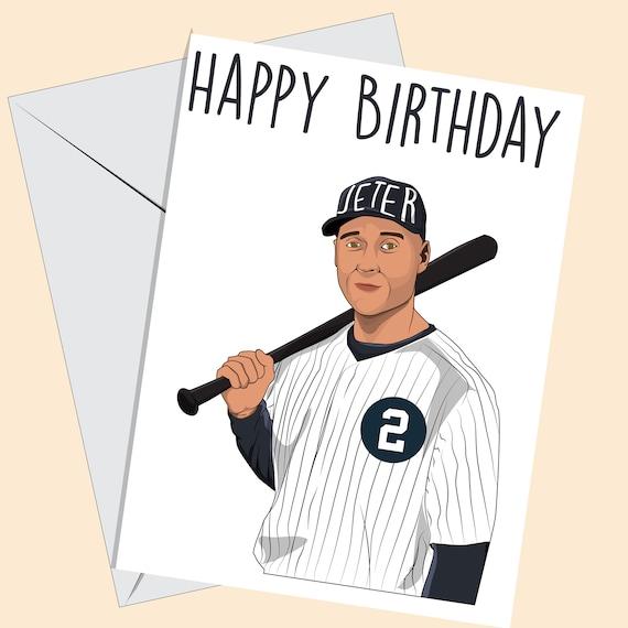 Derek Jeter Birthday Card New York Yankees Greeting Card Etsy