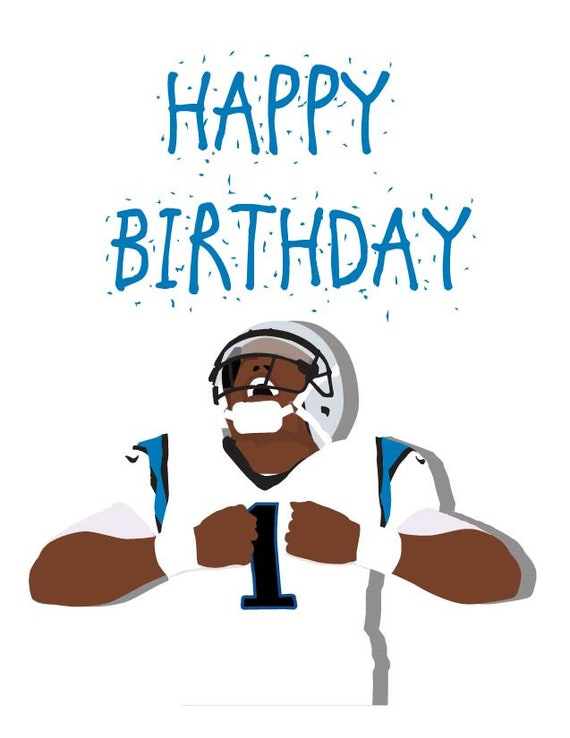 Cam Newton Happy Birthday Card Carolina Panthers Greeting Etsy