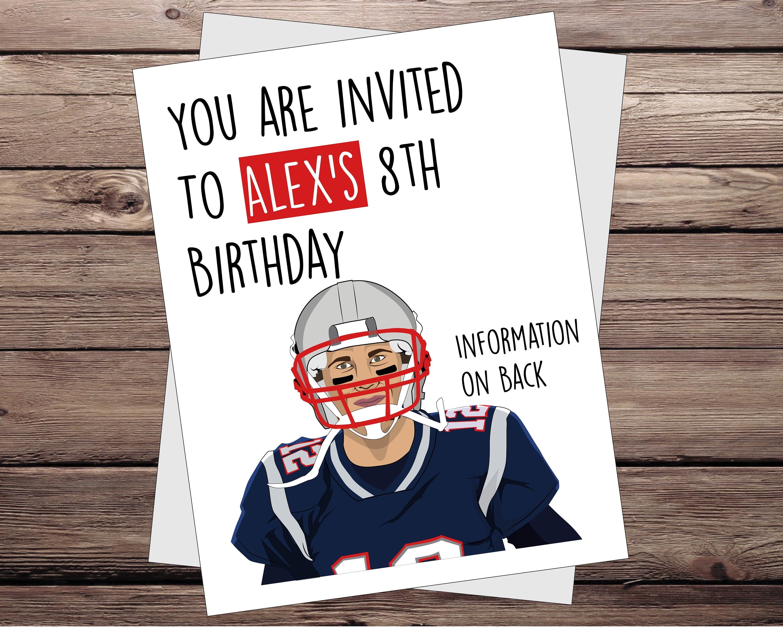 Football Invitations for kids. Tom Brady England Patriots | Etsy