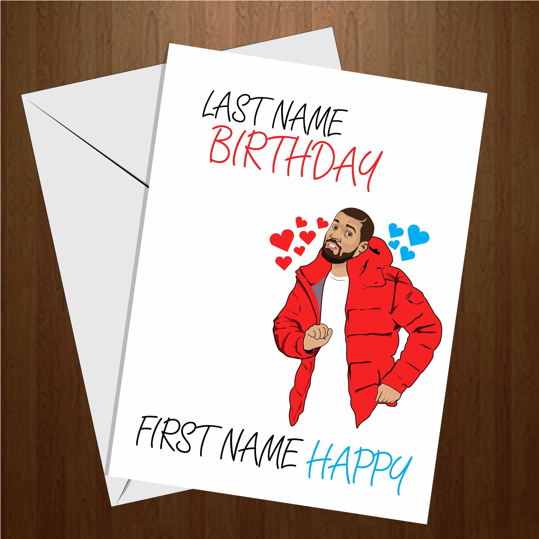 Last name Birthday first name Happy Birthday Card. Drake   Etsy
