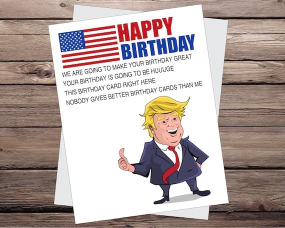 Trump Birthday Card Funny Birthday Card Greeting Card Happy Etsy
