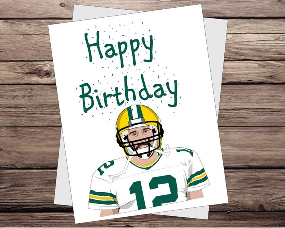 image 0 & Aaron Rodgers birthday card Green Bay Packers gift Unique | Etsy