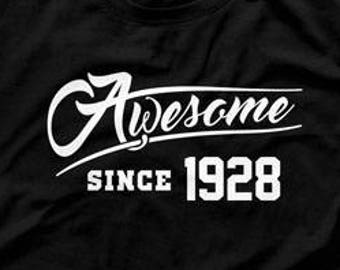 90th Birthday Gift Ideas For Him Presents Her Shirt Bday Awesome Since 1928 Funny Mens Ladies Tee DAT 1118