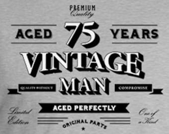 75th Birthday T Shirt Grandpa Gift Ideas For Him Personalized TShirt Custom Age Bday Aged 75 Years Old Vintage Man Mens Tee DAT 811