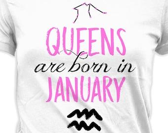 a4efb6ed2 Zodiac T Shirt Birthday Gift Ideas Aquarius Shirt Astrology TShirt  Horoscope T-Shirt Bday Queens Are Born In January Ladies Tee DAT-918