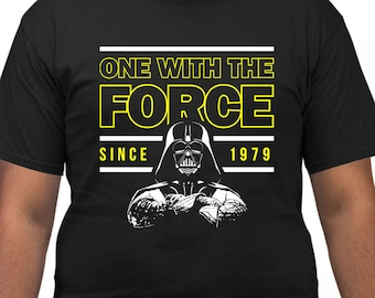 40th Birthday Shirt Movie T Shirts Geek Gifts For Him Custom Year Personalized One With The Force Since 1979 Mens Tee DAT 3011