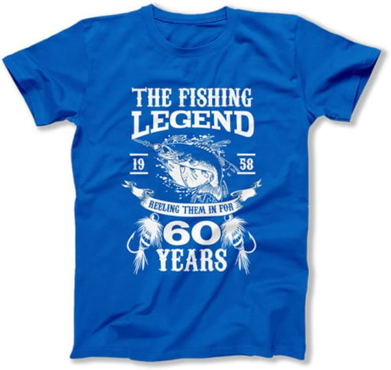 60th Birthday Gifts For Man Fishing T Shirt Him Bday