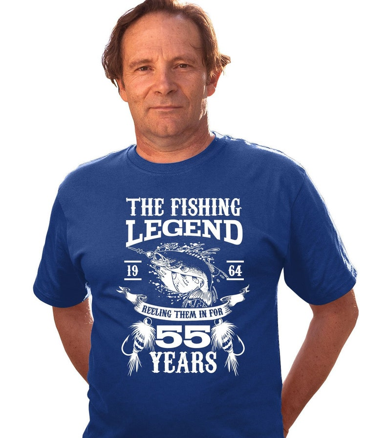 9719a2e32432c 55th Birthday Shirt Fisherman T Shirt Custom TShirt Personalized Age Bday  Present B Day The Fishing Legend 55 Year Old Mens Tee DAT-3174