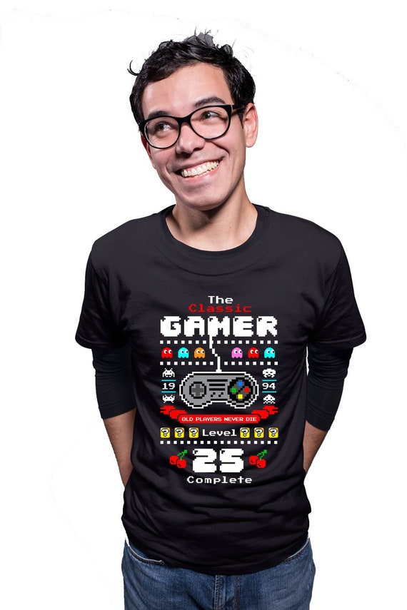 25th Birthday T Shirt Geek Tshirt Custom Age Nerd Clothes Bday Gift Ideas For Him The Classic Gamer Level 25 Complete Mens Tee Dat 3022
