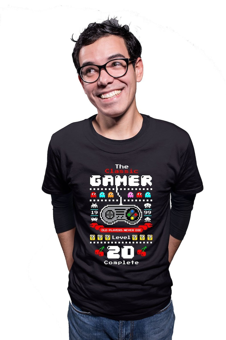 20th Birthday T Shirt Gamer Gifts For Nerd Clothes Bday Present Him Custom