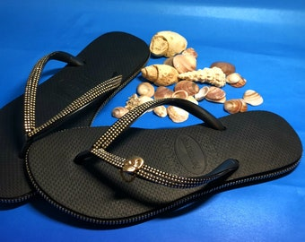 f72f272d317bc2 Rivets Studs Havaianas Custom Flip Flops Combined With Gold Skull Charm  Pendant