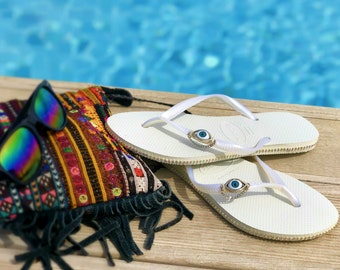 490ce1b86 Unique Havaianas Flip Flops Combined With Rhinestones And A Blue Evil Eye  Charm