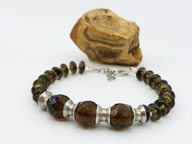 Natural Beaded Smoky Quartz Stones Men Bracelet In Silver
