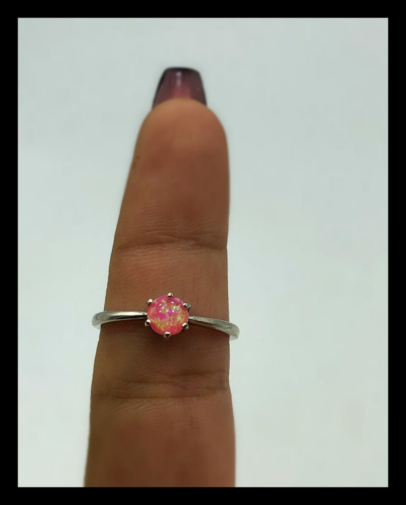 Dainty Pink Opal Ring Sterling Silver