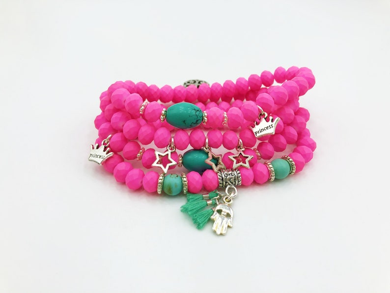 09df2608d6078 Hot Pink Bracelet Set Of 4 With Natural Turquoise Stones & Charms