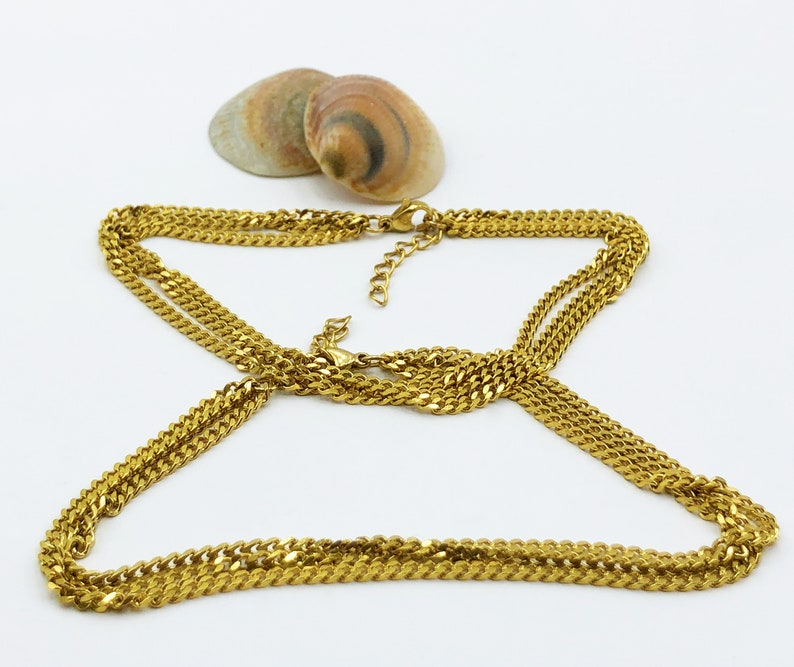 Layered Curb Chain Set Anklet Bracelets Gold Stainless Steel-