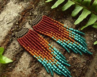 Fringe seed bead long earrings