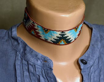 Beaded Choker Necklace, Ornament seed bead necklace, Ethnick choker