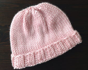 Hand Knit Baby Hat - Soft Pink