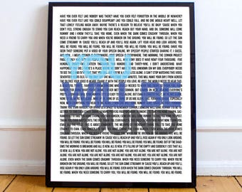 Dear Evan Hansen Art, Broadway Musical Print /Poster, Broadway Musical Lyrics, You Will Be Found Lyrics, INSTANT DOWNLOAD
