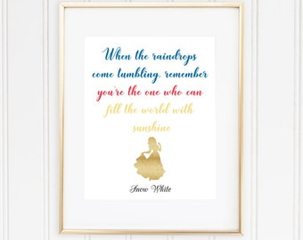 Disney Princess Wall Art, Snow White Disney Quote, When the Raindrops Come Tumbling..., Disney Wall Art, Girls Room Decor, INSTANT DOWNLOAD