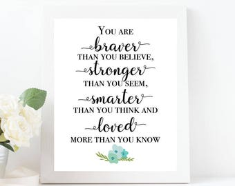 You Are Braver Than You Believe..., Winnie the Pooh Quote, Nursery Art, Girl Nursery Wall Art, Blue Floral Wall Print, INSTANT DOWNLOAD