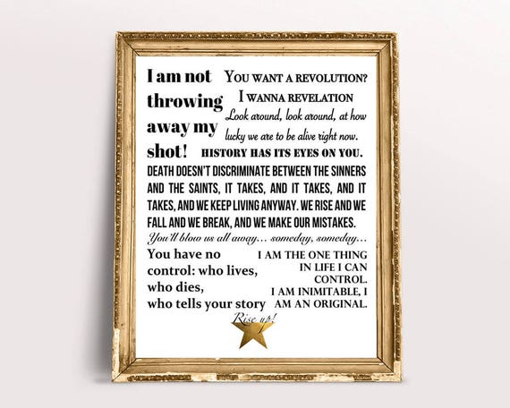 Hamilton The Musical Quotes Lyrics Poster Black And Gold Etsy