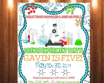 Science Party Invitation, Science Experiment Party Invitation, Science Party, Mad Science Invitation, Science Birthday Invitation