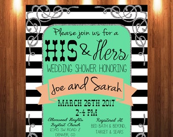 His and Hers Wedding Shower Invitation, Couple's Shower Invitation, Wedding Shower Invitation, Coed Wedding Shower, Couples Shower