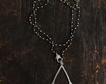 Scintillating Silver Dazzling! Art Deco Silver MICRO-PAVE Multi Dangling Pendants Necklace on Silver PYRITE Rosary Chain