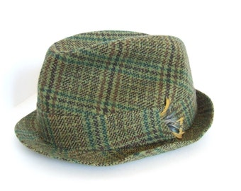 d8ccceed0af88 Vintage men s Biltmore green and brown tweed fedora hat made in the 1960 s  in Canada mens wear accessories mcm retro clothing for him