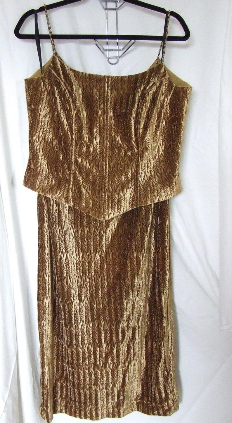 Joseph Ribkoff ladies two piece formal wear plus size camisole blouse full  length long skirt golden amber brown textured velvet curvy BBW