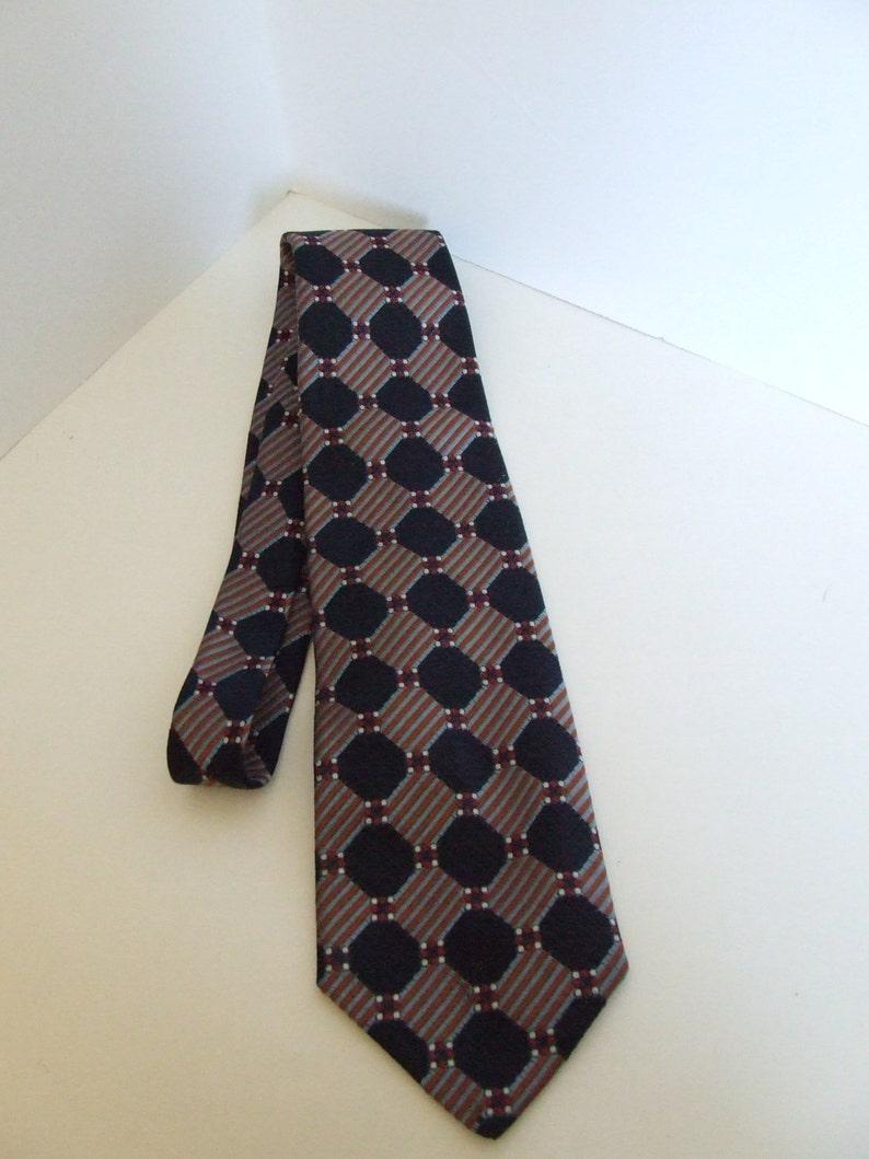 100/% de soie tissée Hommes cravat foulard rouge avec des rayures dans des tons de bleu nouveau