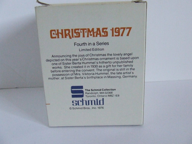 Retro Schmid Herald Angel Christmas tree ornament Sister Berta Hummel collector series Schmid Bros 1976 winter holiday seasonal decoration