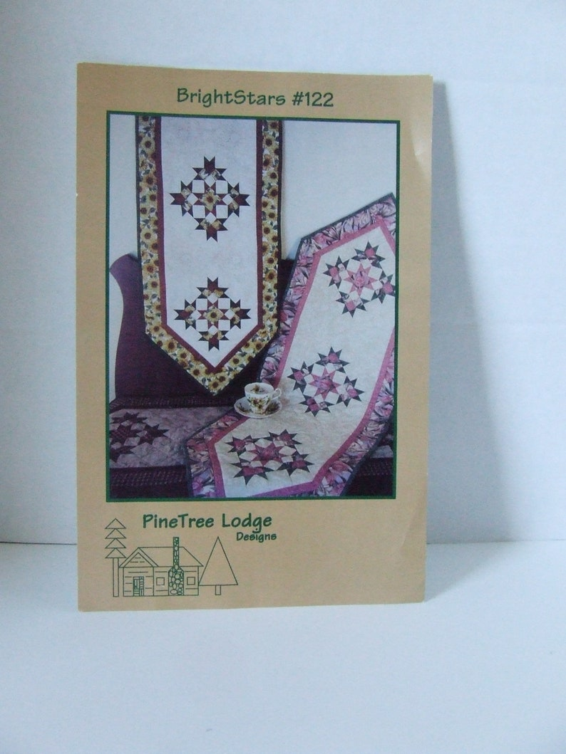 Bright Stars #122 uncut quilted table runner sewing pattern by Helen C Thorn of PineTree Lodge Designs new old stock handmade home decor