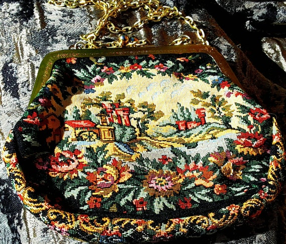 Lovely tapestry evening bag 1950s