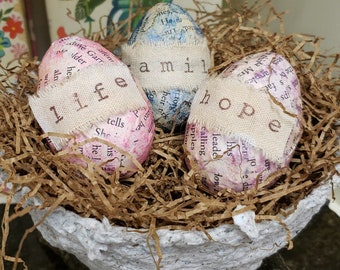 Spring Nests with Eggs, Spring Decor, Gift for Bird Lover, Spring Eggs with Words, Handmade Paper Nest and Eggs, Spring Paper Decorations