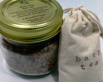 Bath Tea--Lavender Chamomile and/or Vegan Rose Clay Bath Tea