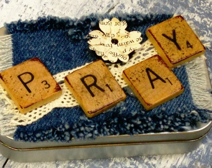 Featured listing image: Prayer Box with Denim and Scrabble Letters on Lid