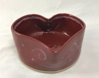 Pottery trinket box, jewelry dish, bathroom accessory, pottery dish, heart bowl