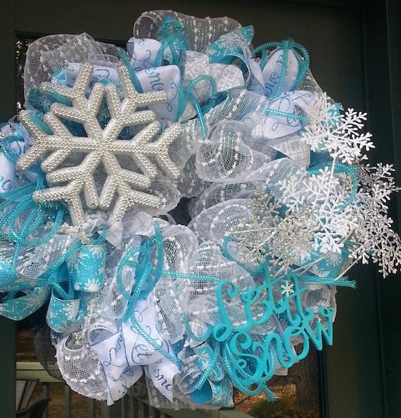 Snowflake Wreath Let It Snow Wreath Blue And White Wreath Etsy