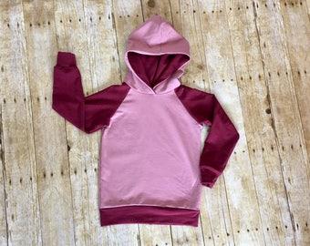 Mauve hoodie // mauve and burgundy hoodie // girls hoodie // girls sweatshirt // baby shower gift