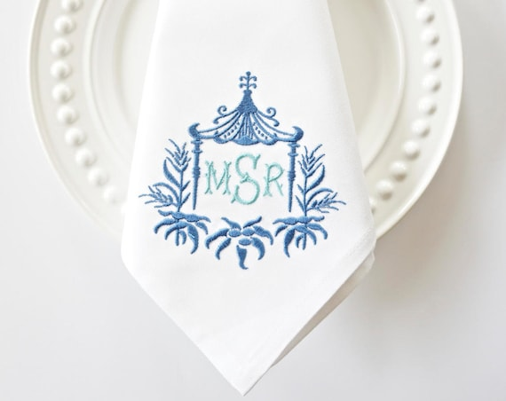 PAGODA II MONOGRAM Embroidered Napkins, Linen Towels, wedding or hostess gift, bridal shower gift, kitchen towels