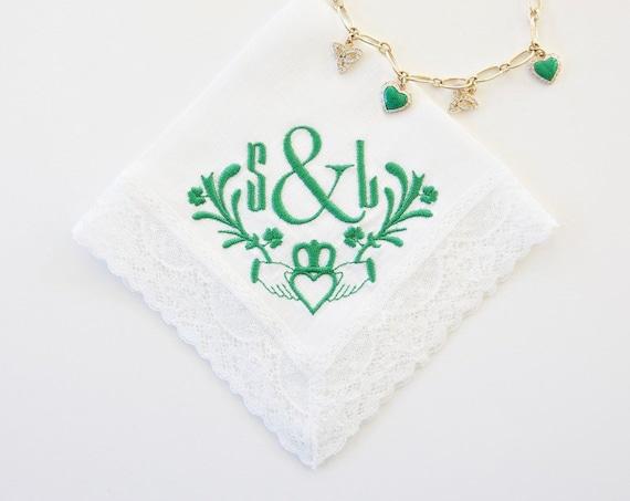CLADDAGH DESIGN and MONOGRAM Embroidered Handkerchief, Wedding Hankie