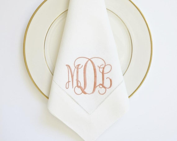 SCROLL II Monogram Embroidered Dinner Napkins and Guest Hand Towels - Wedding Keepsake for Special Occasions
