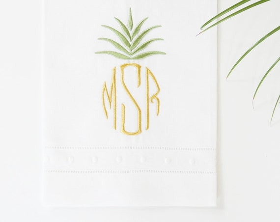 PINEAPPLE I Embroidered Monogram Design
